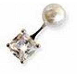 Orecchino Post Foratura Pearl/zircon Dangle 6 Mm Articolo Bjt957